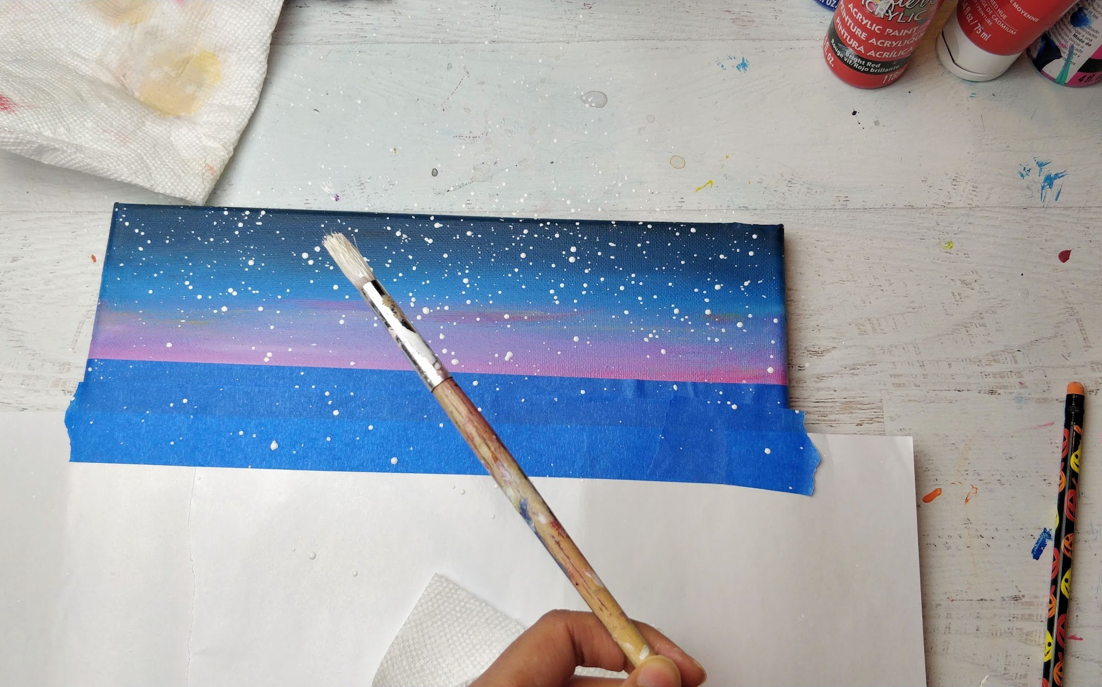 acrylic sky how to paint stars