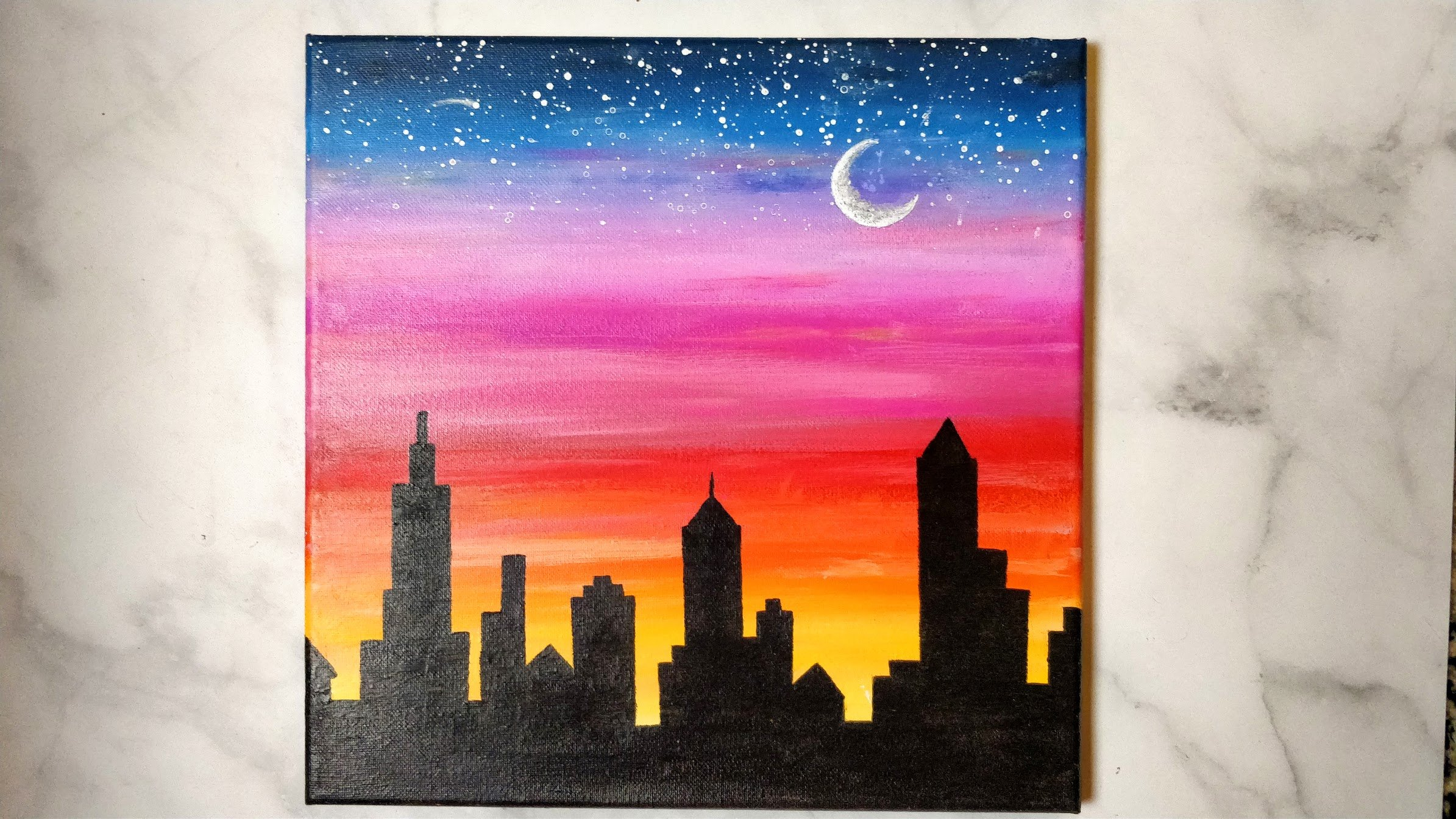 acrylic sunset city skyline painting