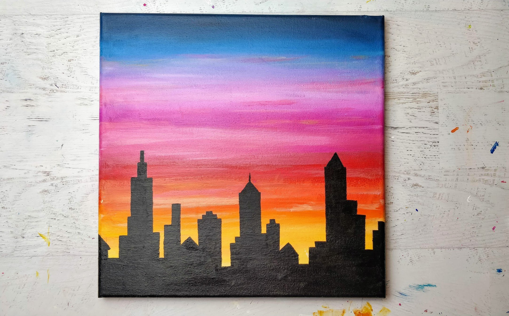 sunset city skyline painting acrylic