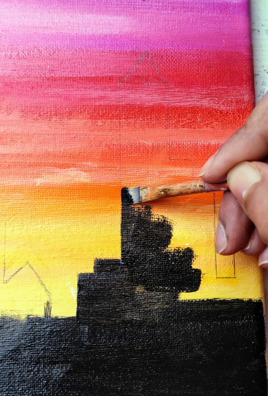 sunset painting black cityline