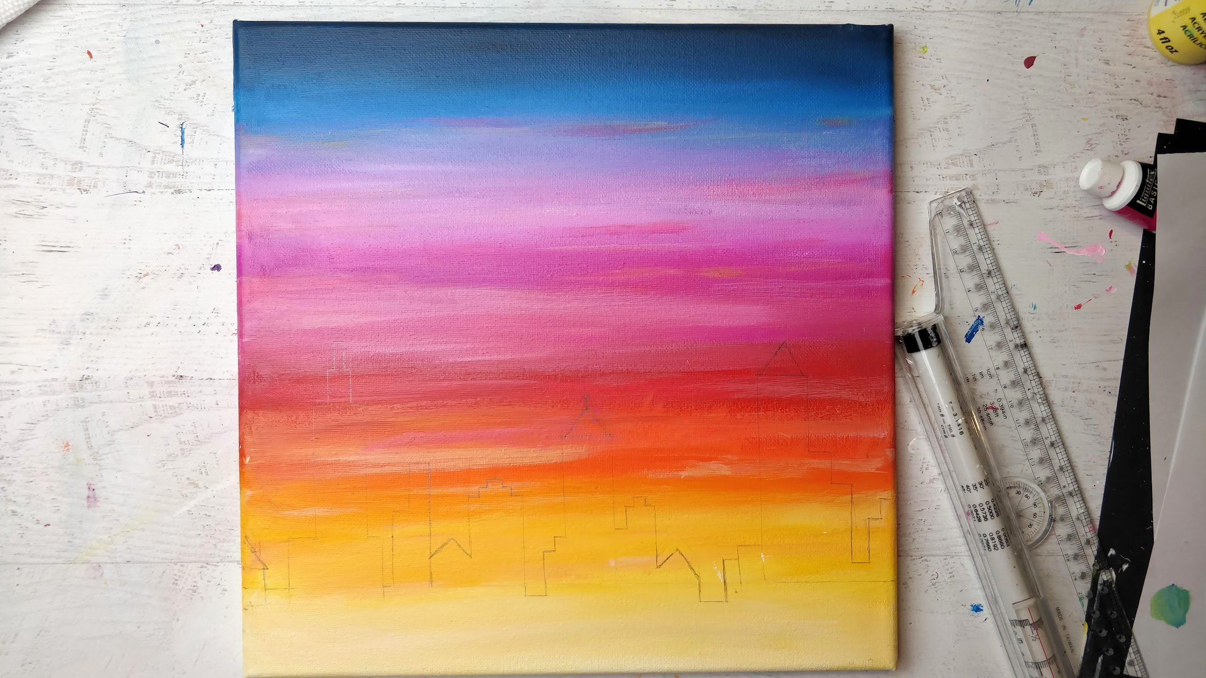 sunset painting city skyline pencil