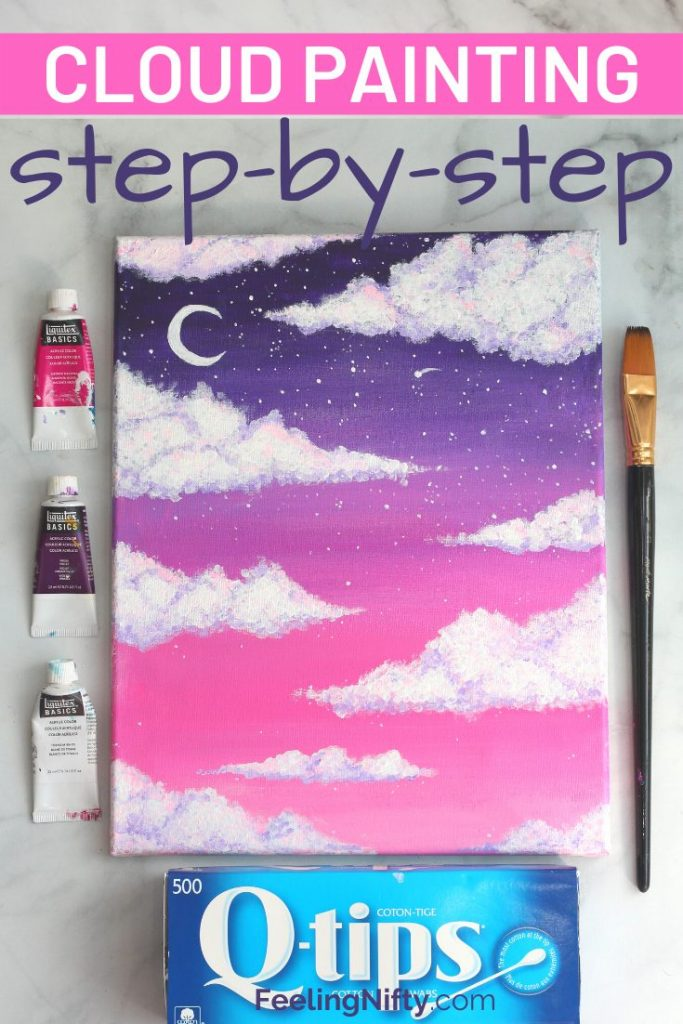 How To Paint Clouds With Acrylic Paint The Easy Way Feeling Nifty