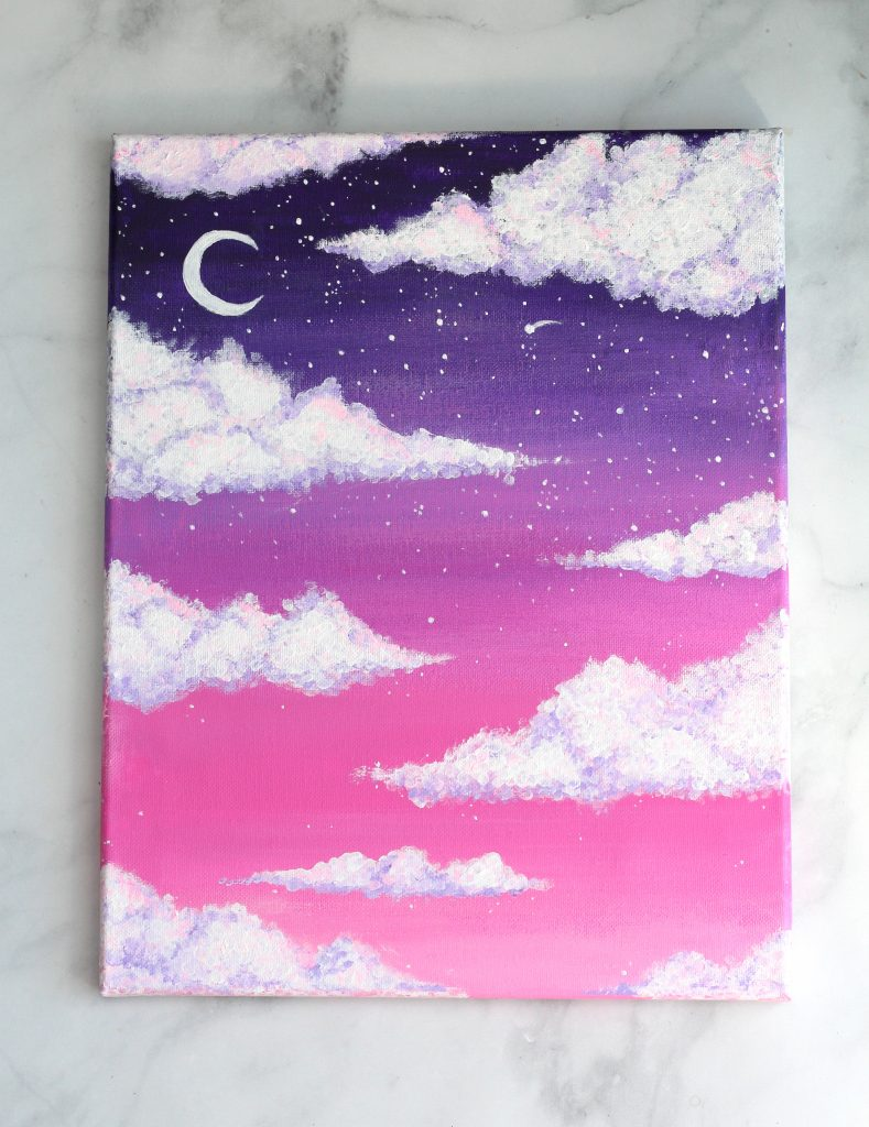 how to paint clouds pink sky acrylic painting for beginning painters