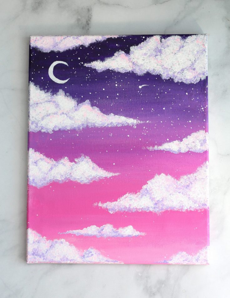 how to paint clouds pink sky