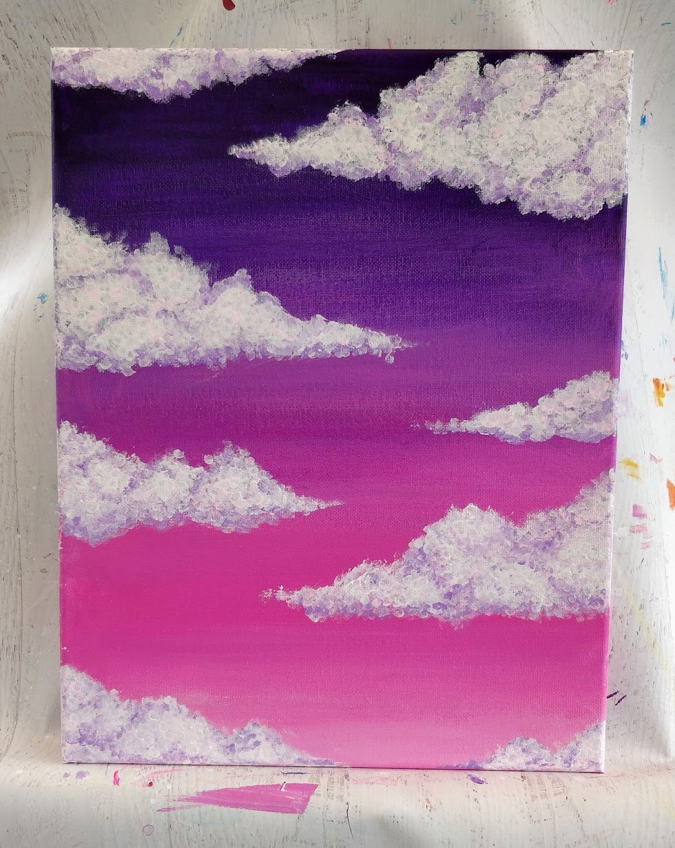 how to paint cumulus clouds pink sky