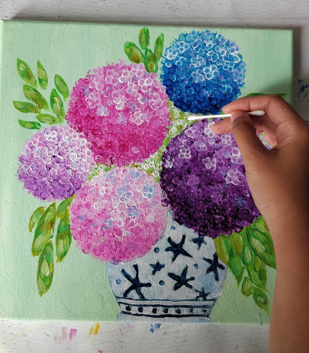 Hydrangea painting acrylic for beginners
