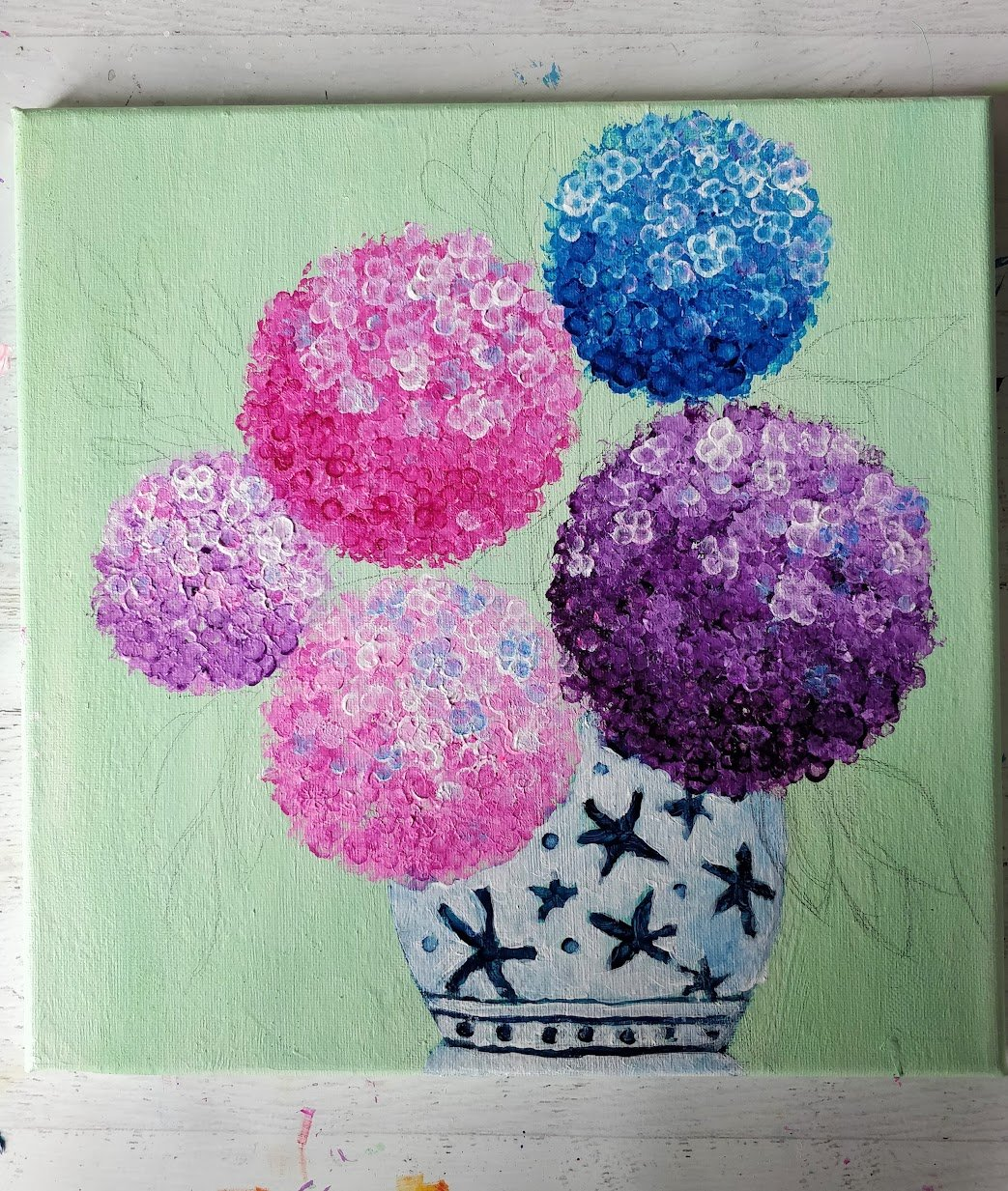 hydrangea leaves how to paint