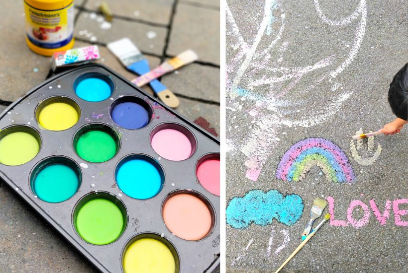 DIY homemade sidewalk chalk paint
