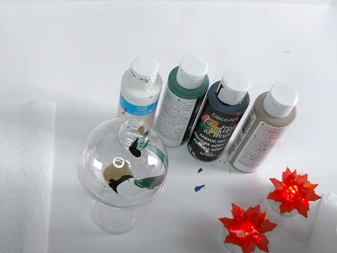 DIY christmas balls clear painted