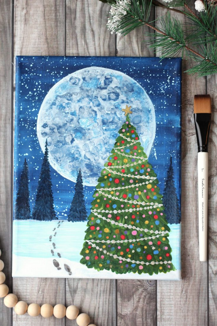 How to paint a christmas tree on canvas