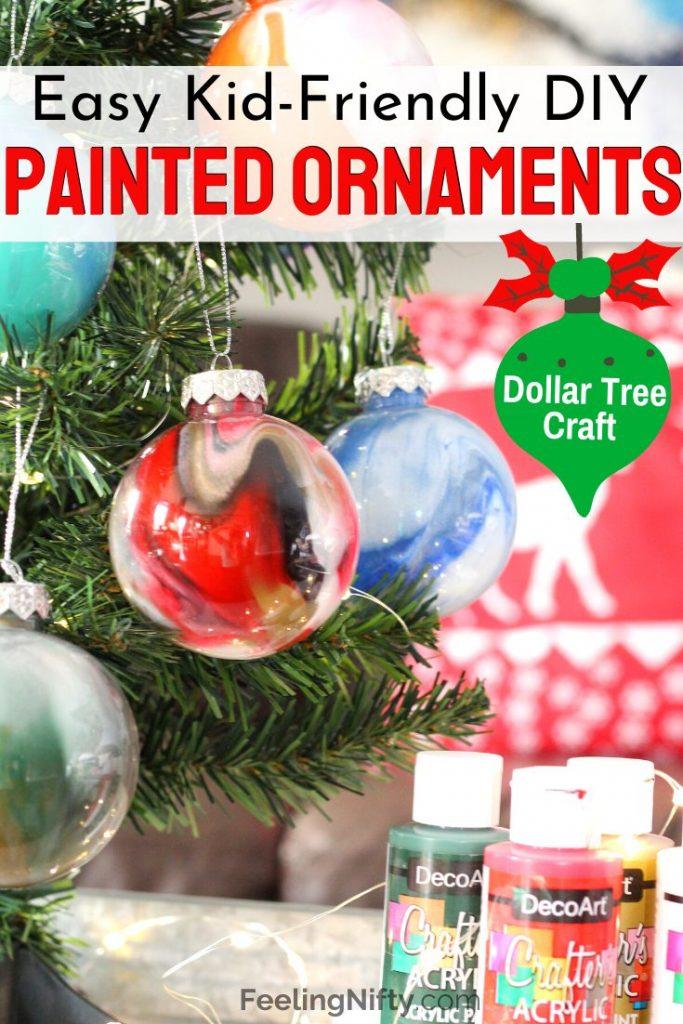 Diy Ornament Balls Paint Swirl 2 Ways Dollar Tree Craft