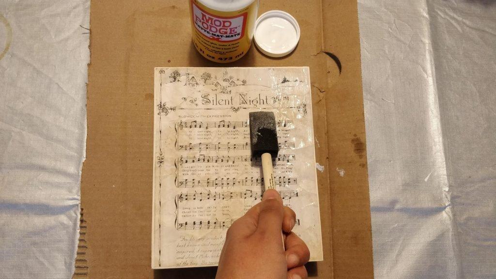 how to mod podge paper lyrics on canvas