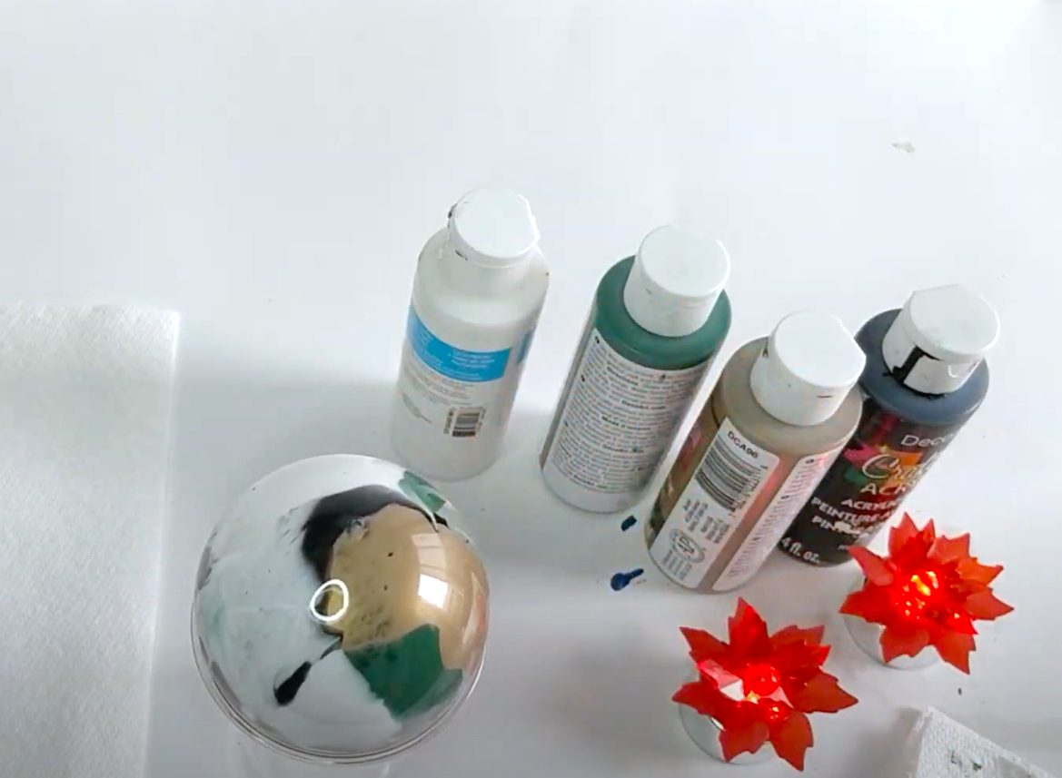 how to paint clear ornament with acrylic paint