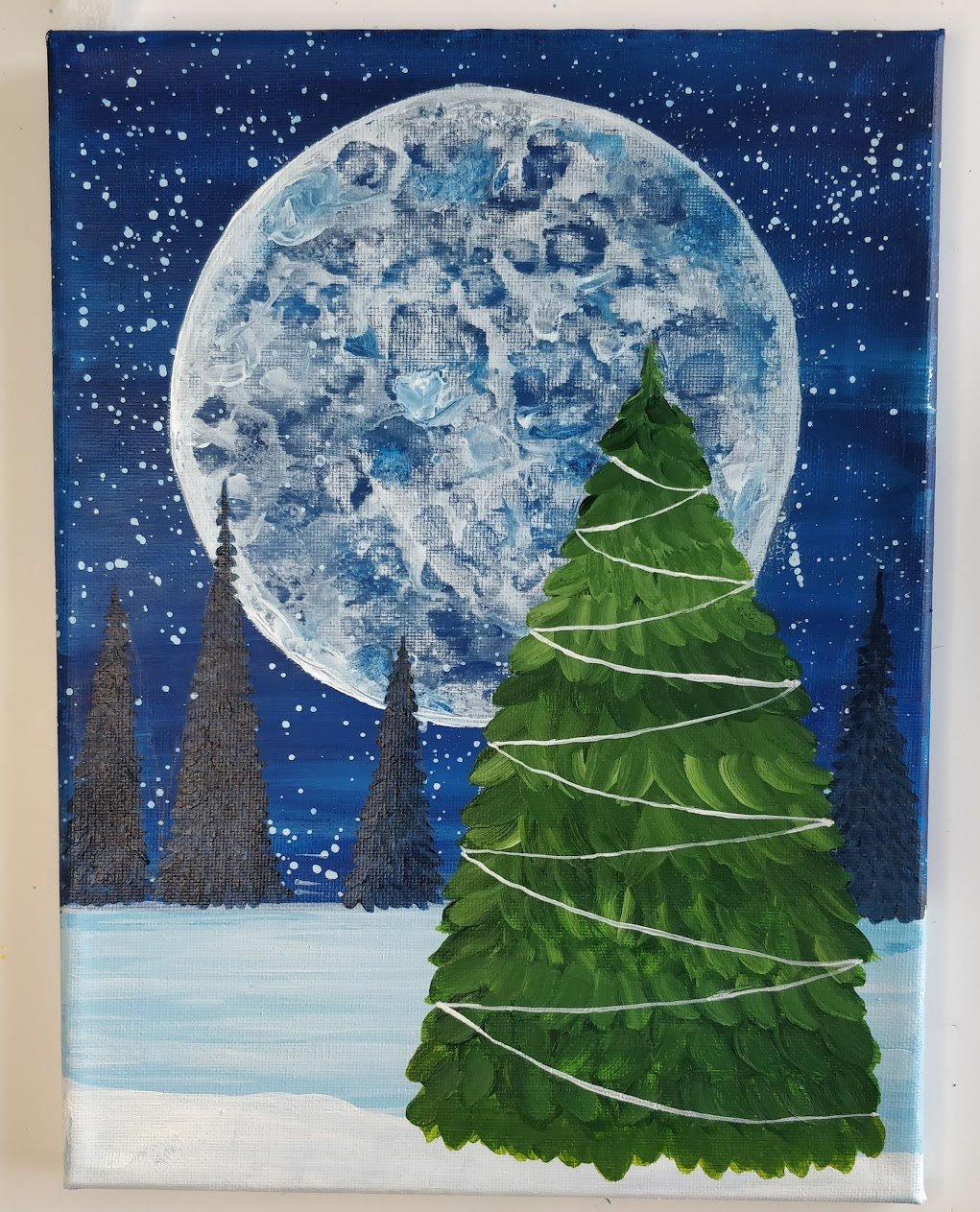 how to paint a christmas pine tree