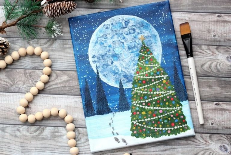 How to Paint a Christmas Tree And A Magical Winter Scene
