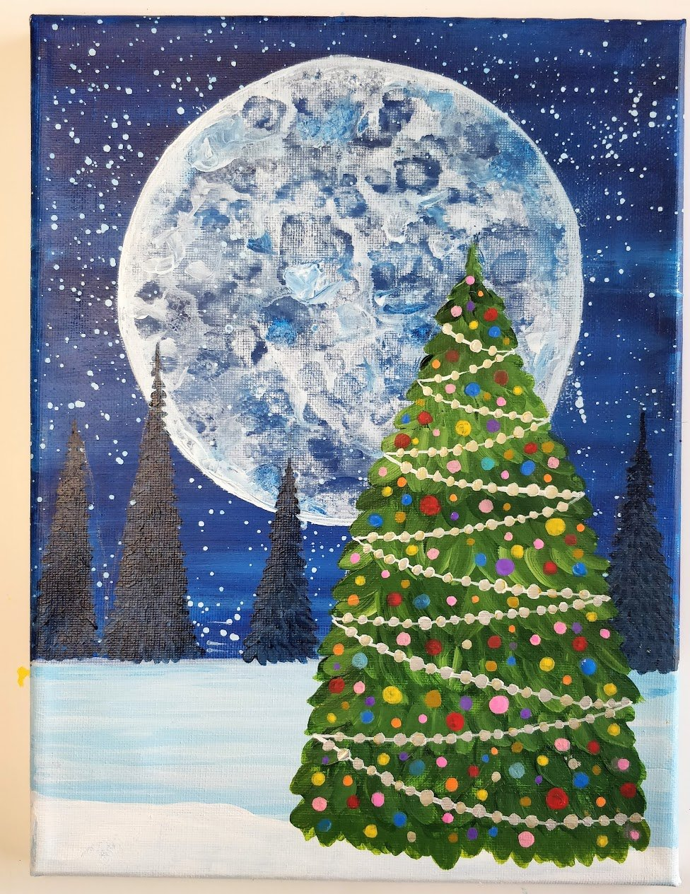 how to paint a christmas tree on canvas lights