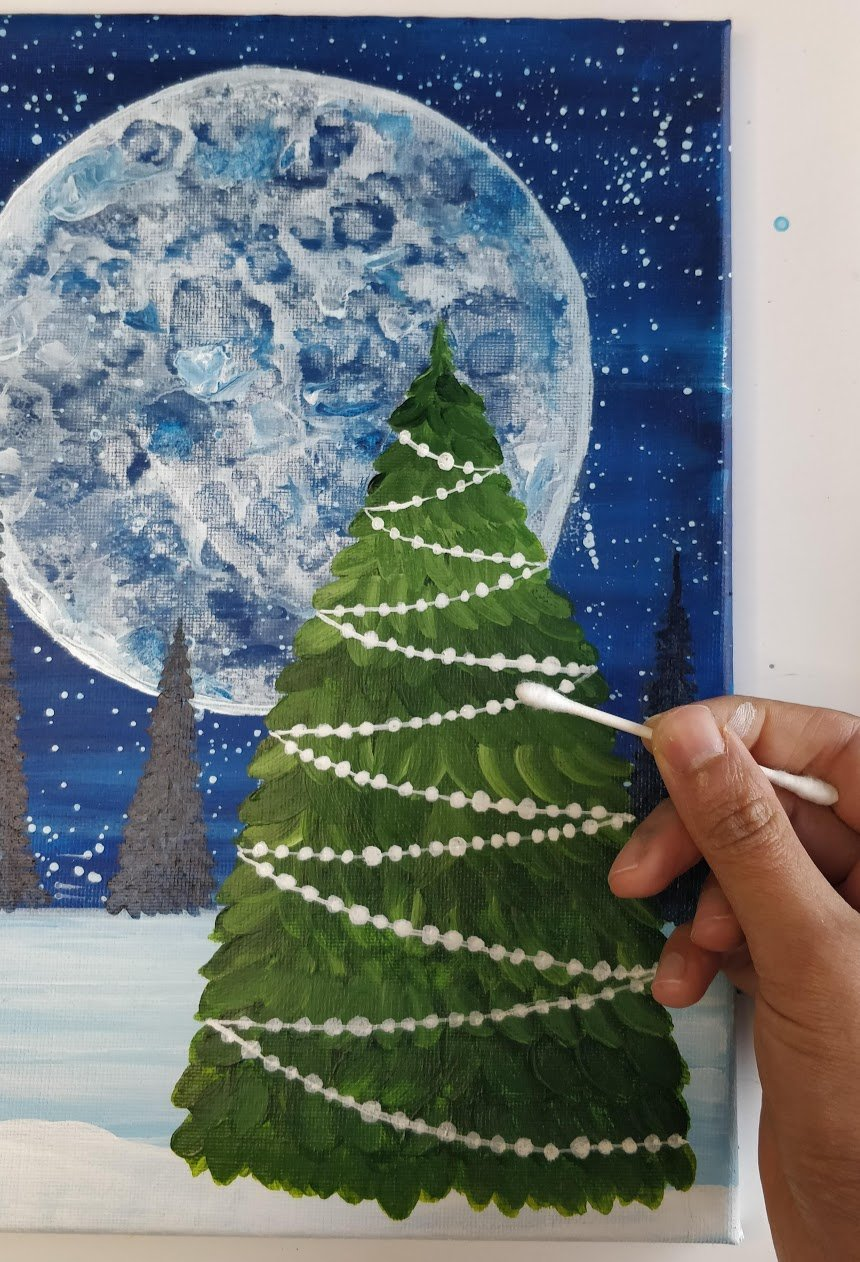 how to paint a christmas tree qtip lights