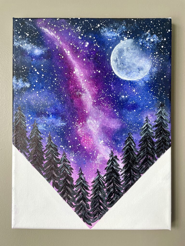 galaxy night sky acrylic painting for beginning painters