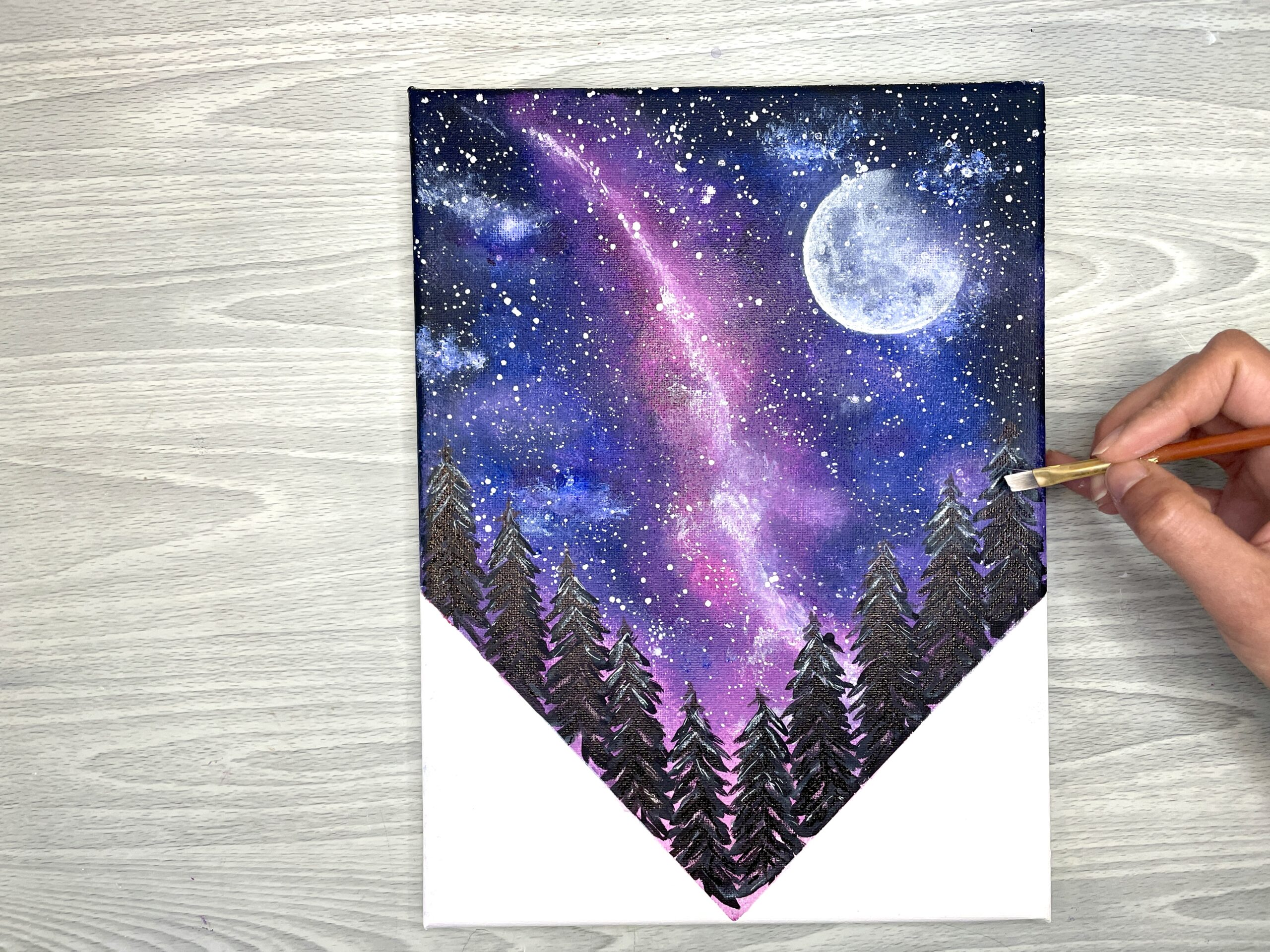 how to paint a galaxy night sky