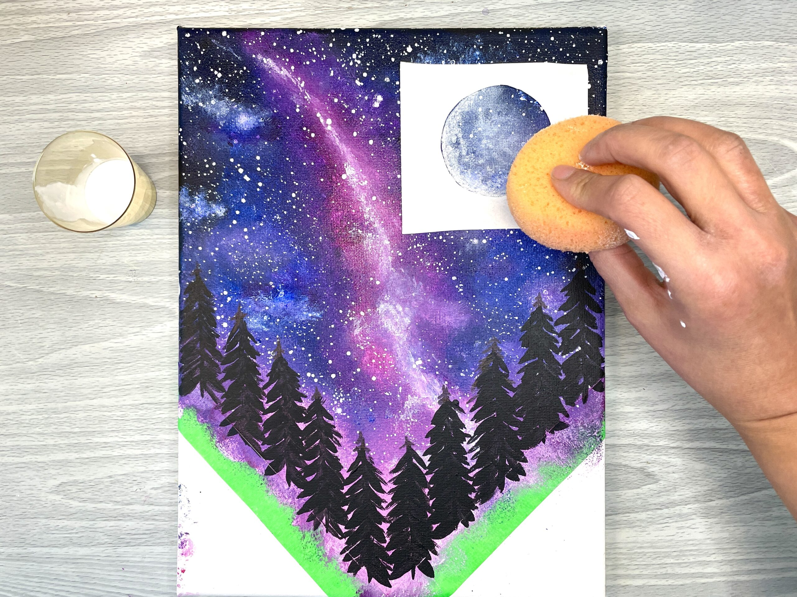how to paint galaxy scene with trees