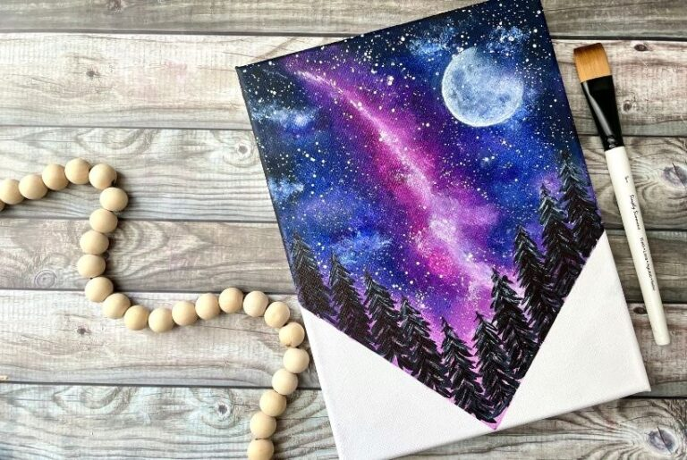 How To Paint a Galaxy Night Sky For Beginners {Milky Way}