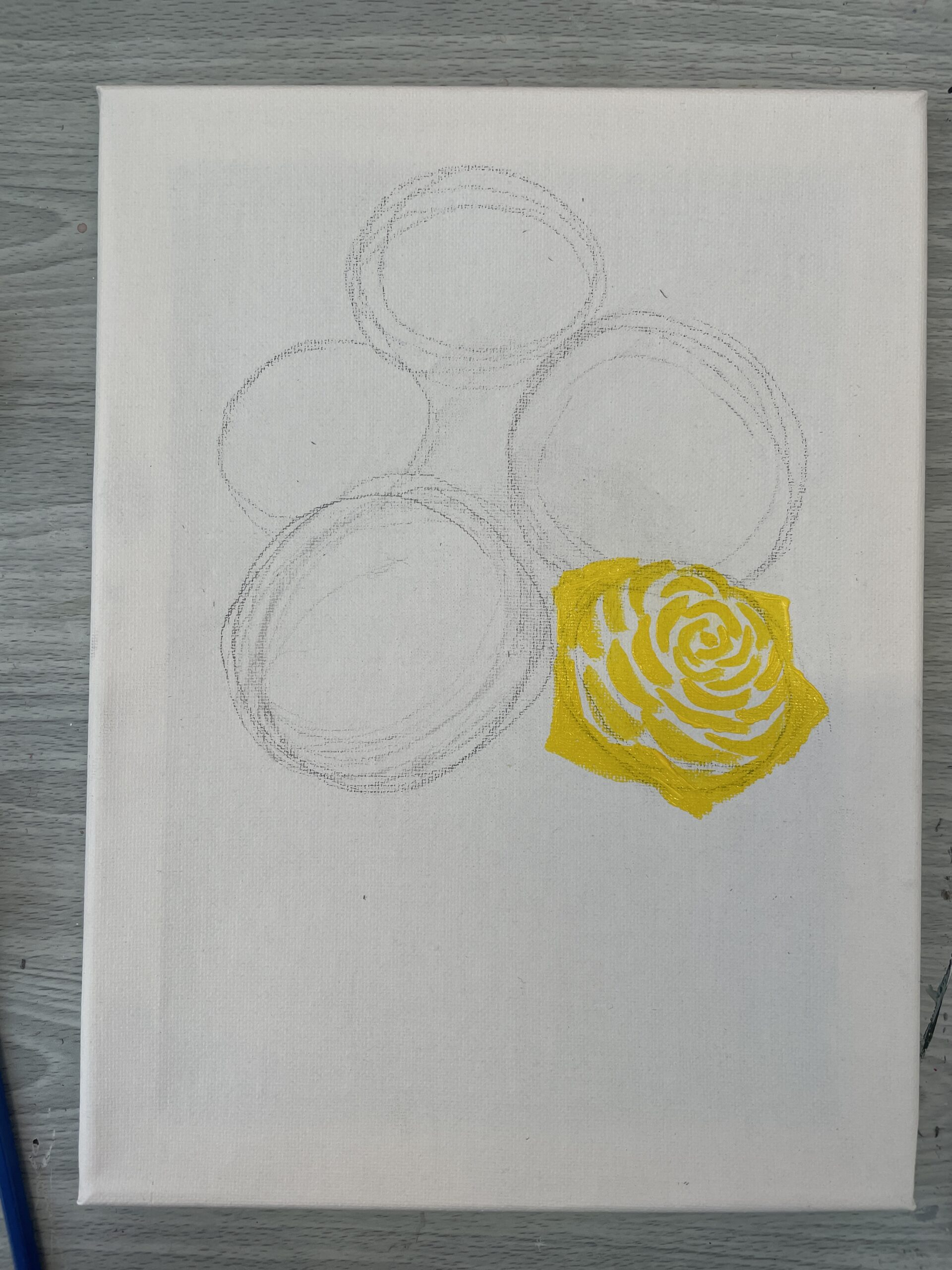 how to paint a rose easy -yellow step 1