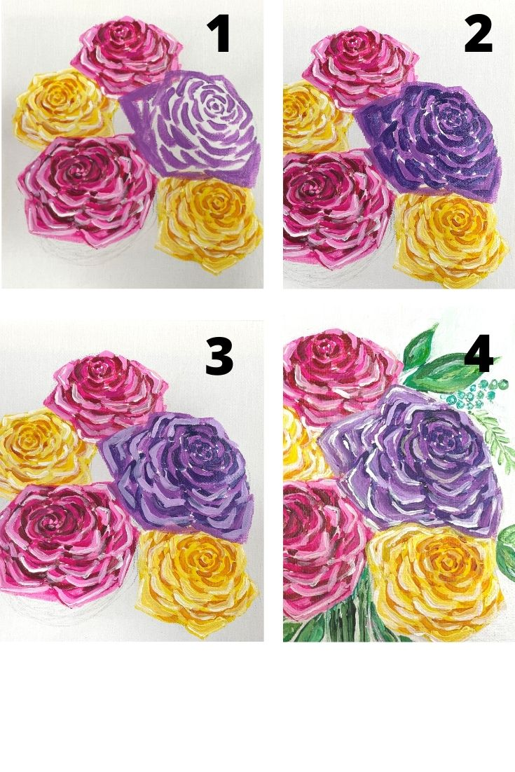 how to paint a rose - purple lavender