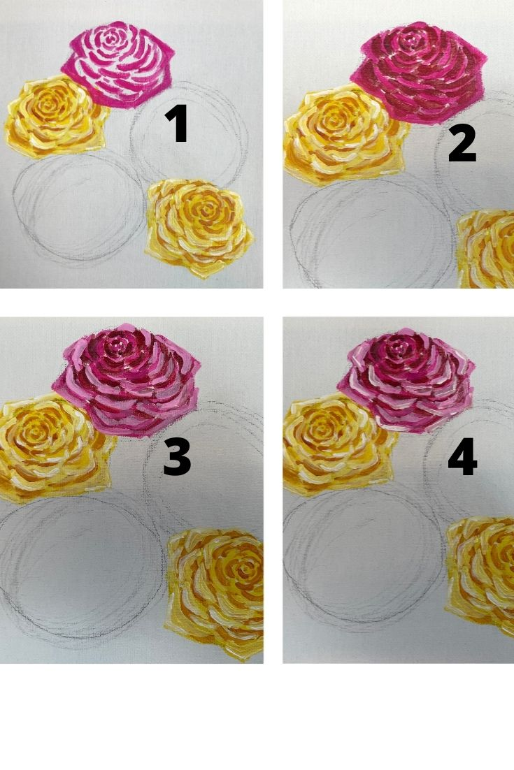 how to paint a rose - red (2)