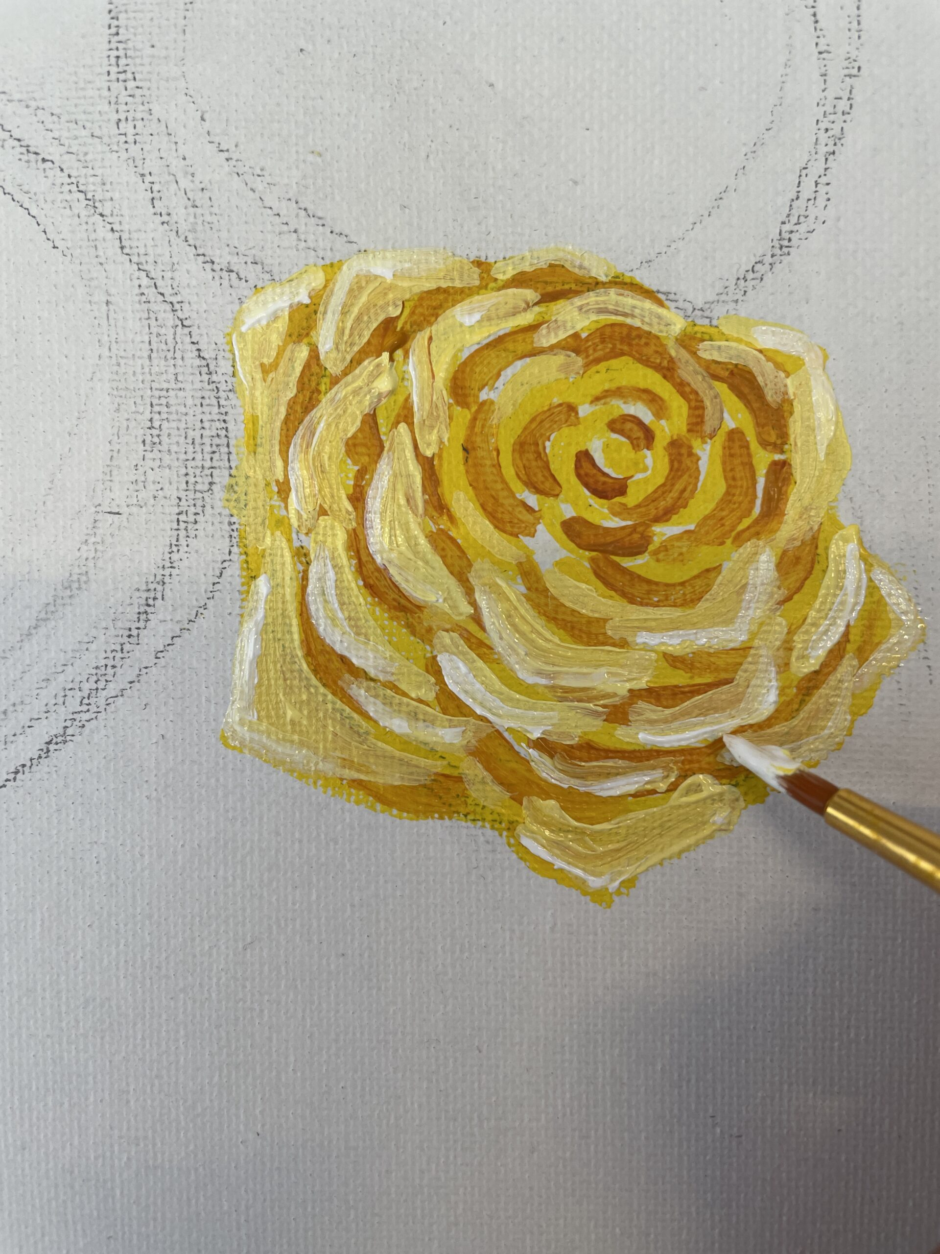 how to paint a yellow rose- beginner