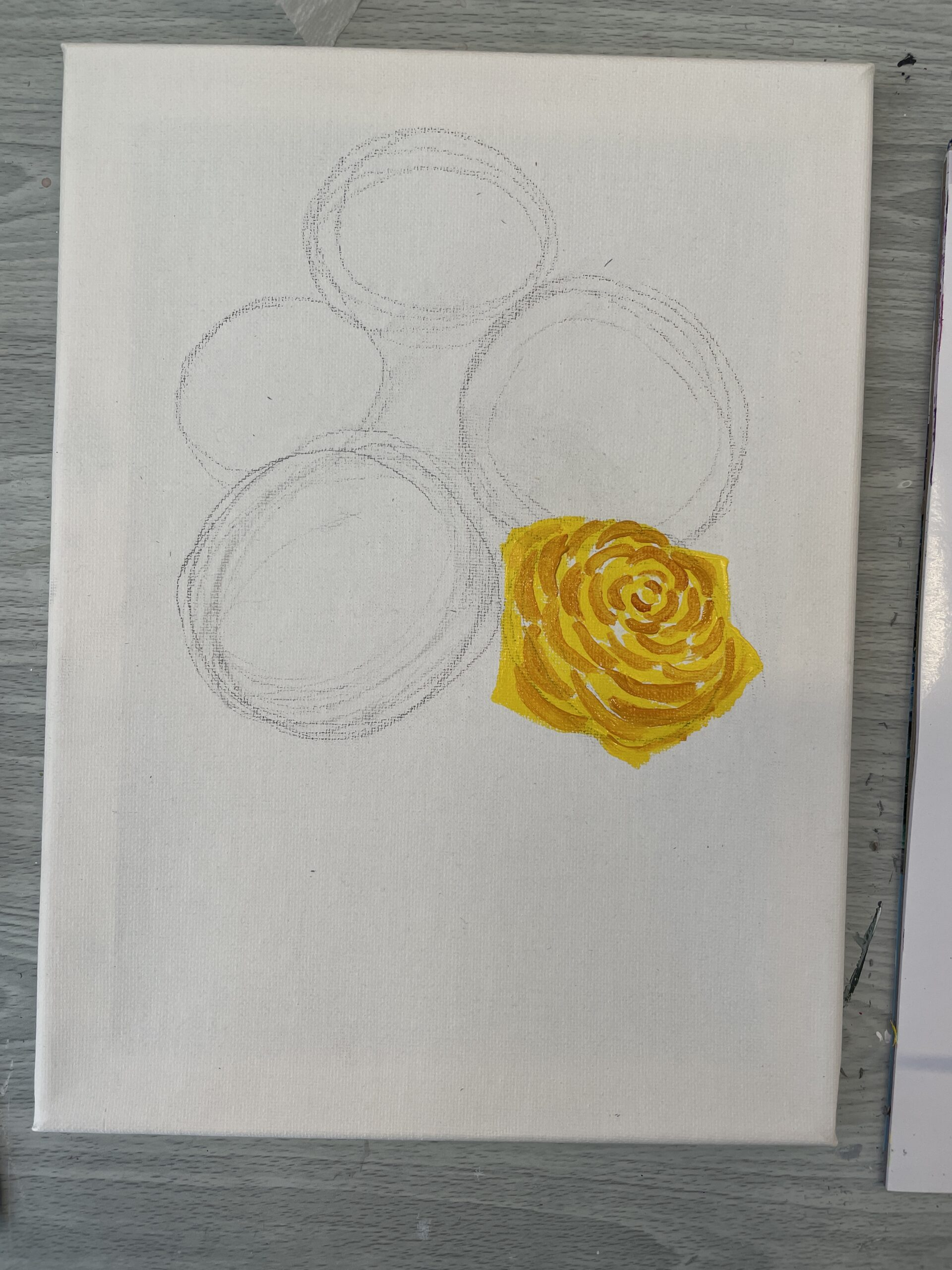 how to paint a yellow rose - shadow