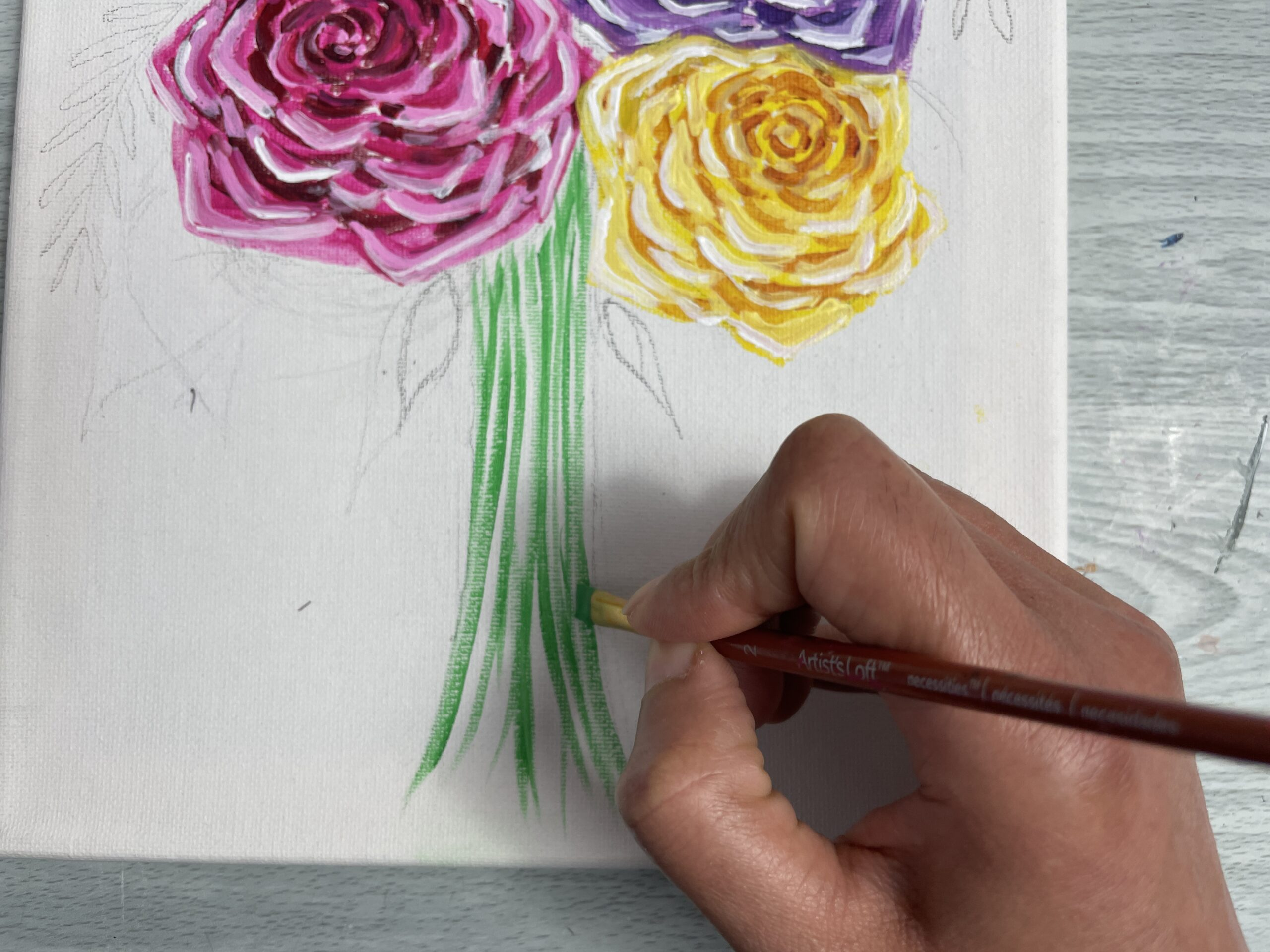 how to paint rose flower stems