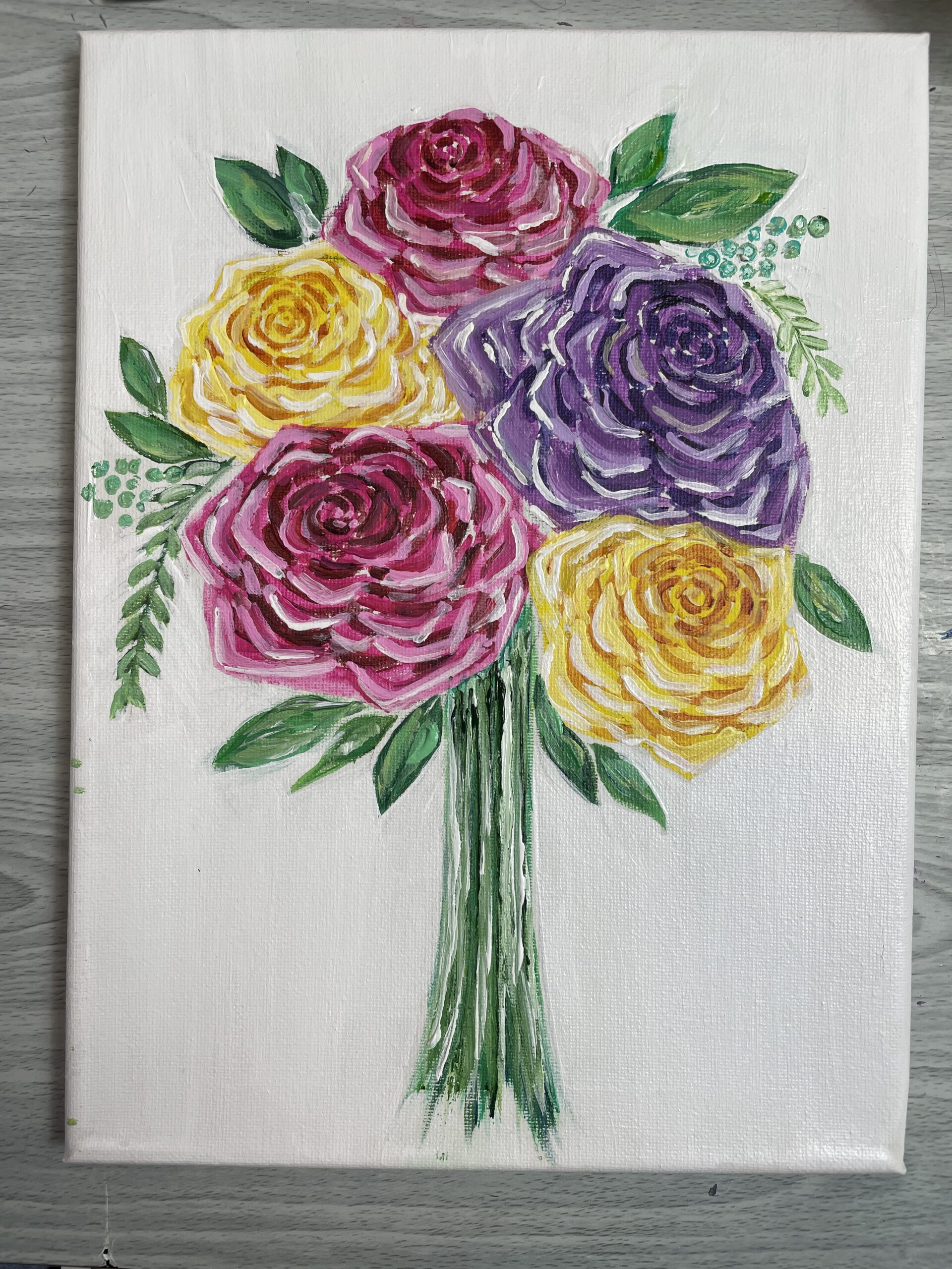how to paint rose leaves acrylic easy