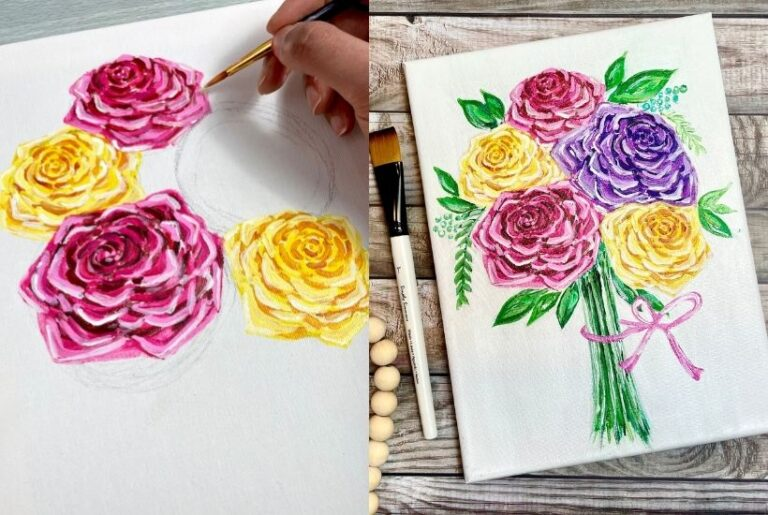 How To Paint Roses In 4 Easy Steps – Acrylics For Beginners