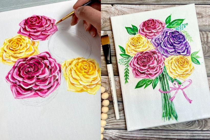 how to paint roses acrylic easy