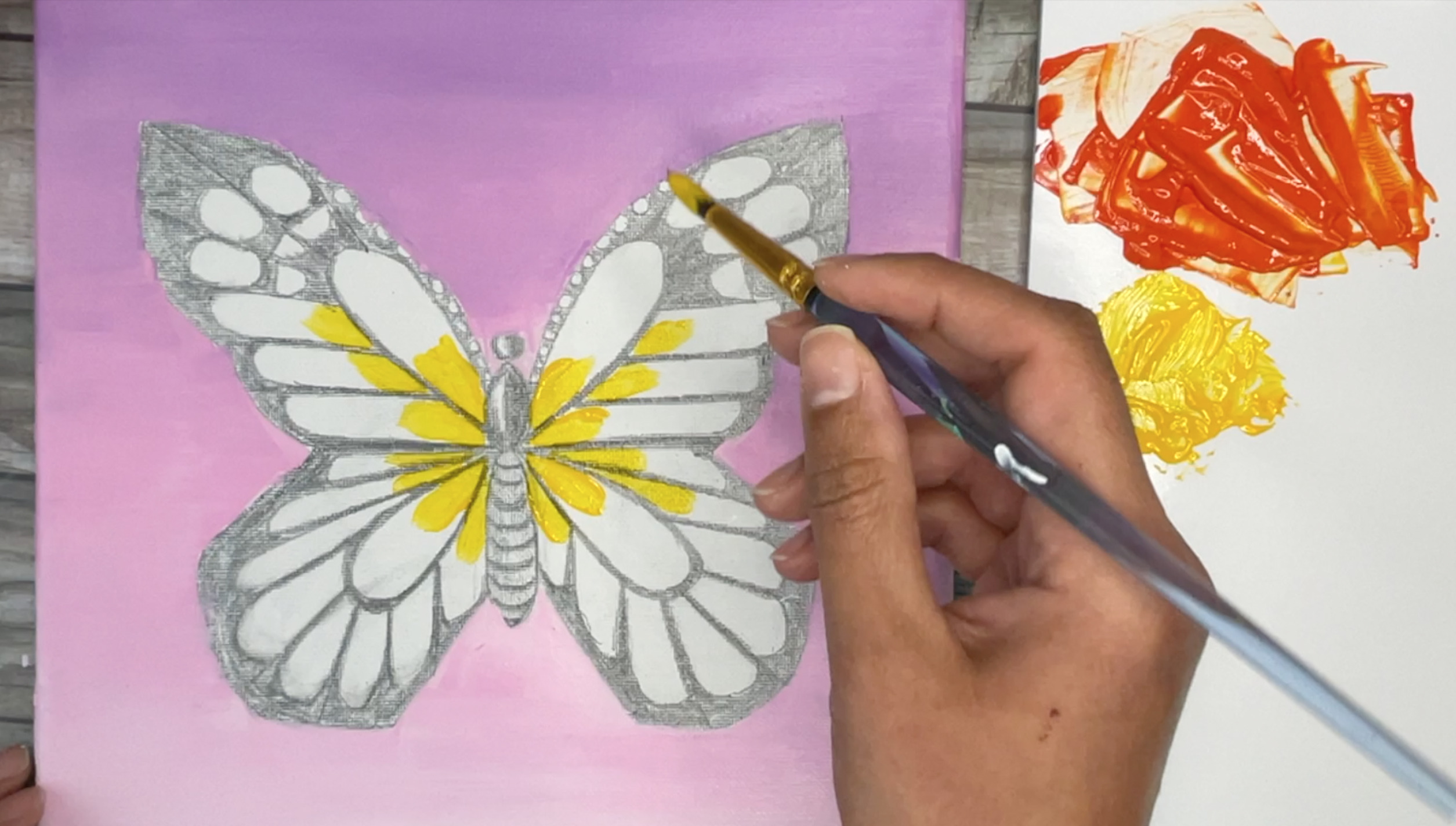How to paint a monarch butterfly easy