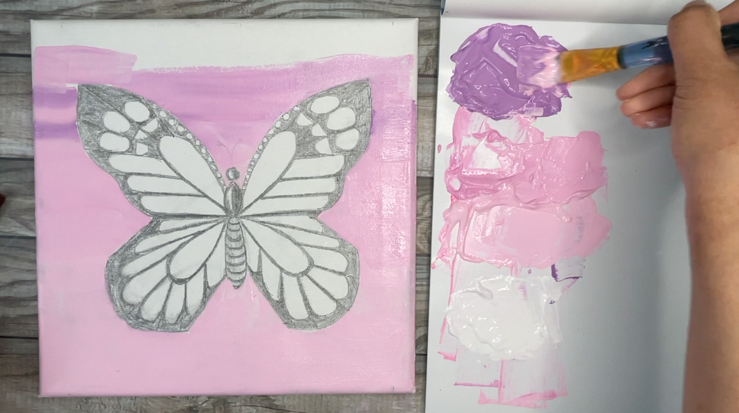 how to paint a butterfly easy sunset background