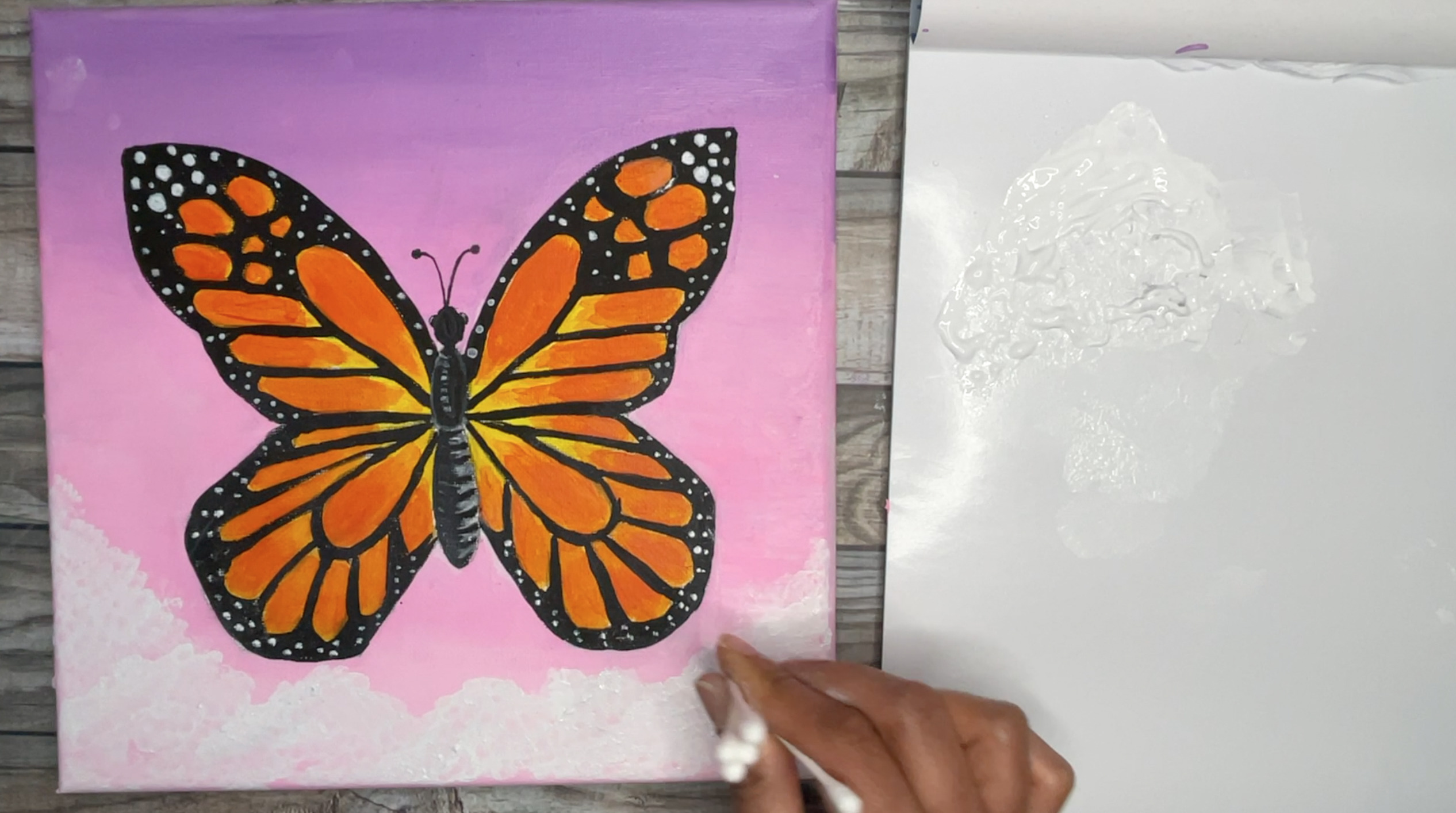 how to paint a butterfly in clouds