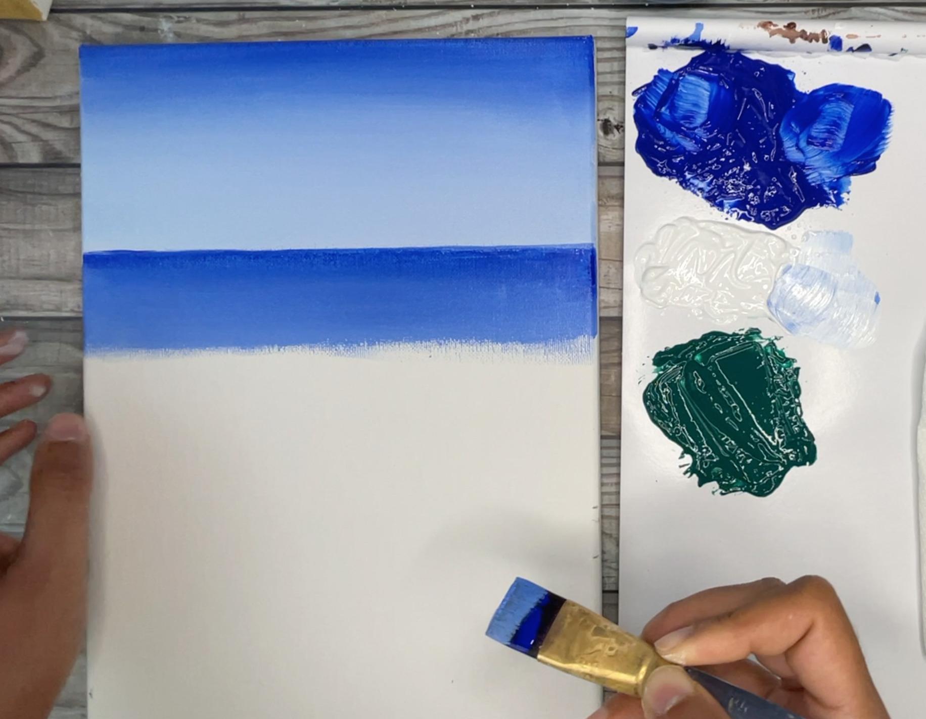 beach painting blue ocean acrylic