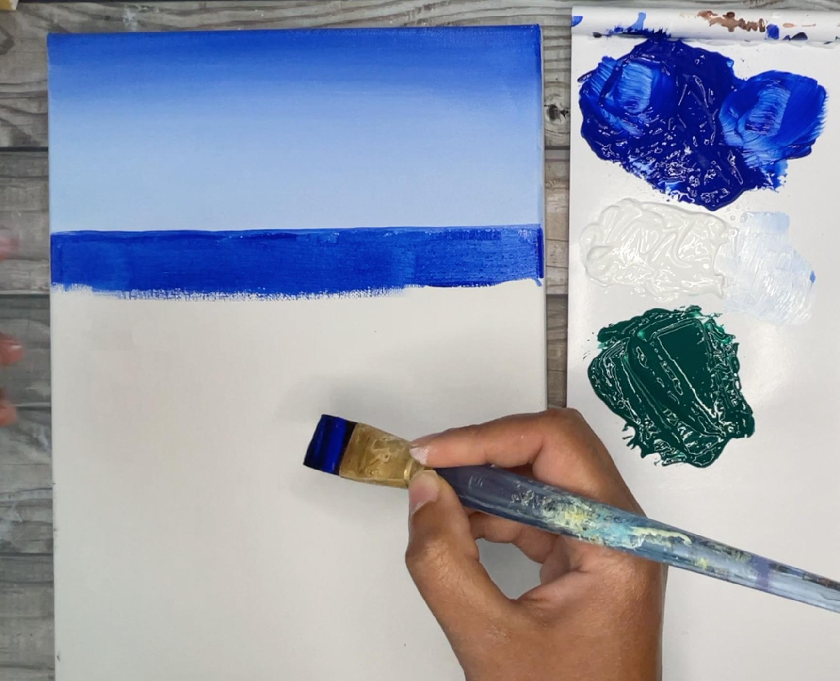 beach painting blue ocean horizon