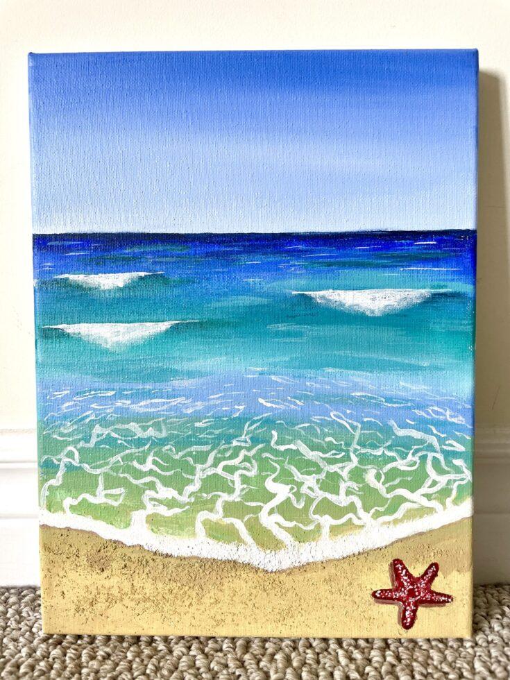 beach painting easy scenery acrylic