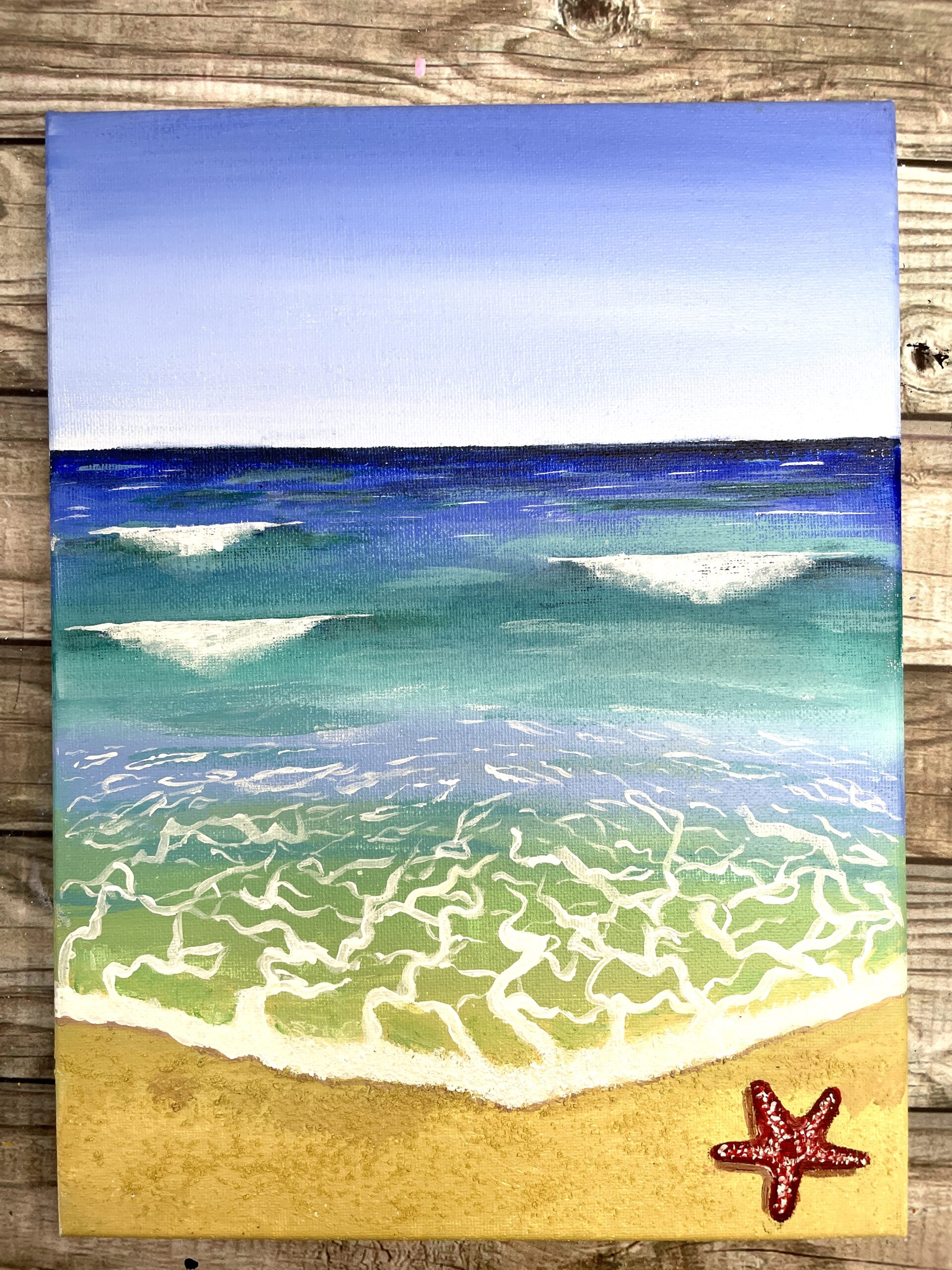beach painting easy step by step