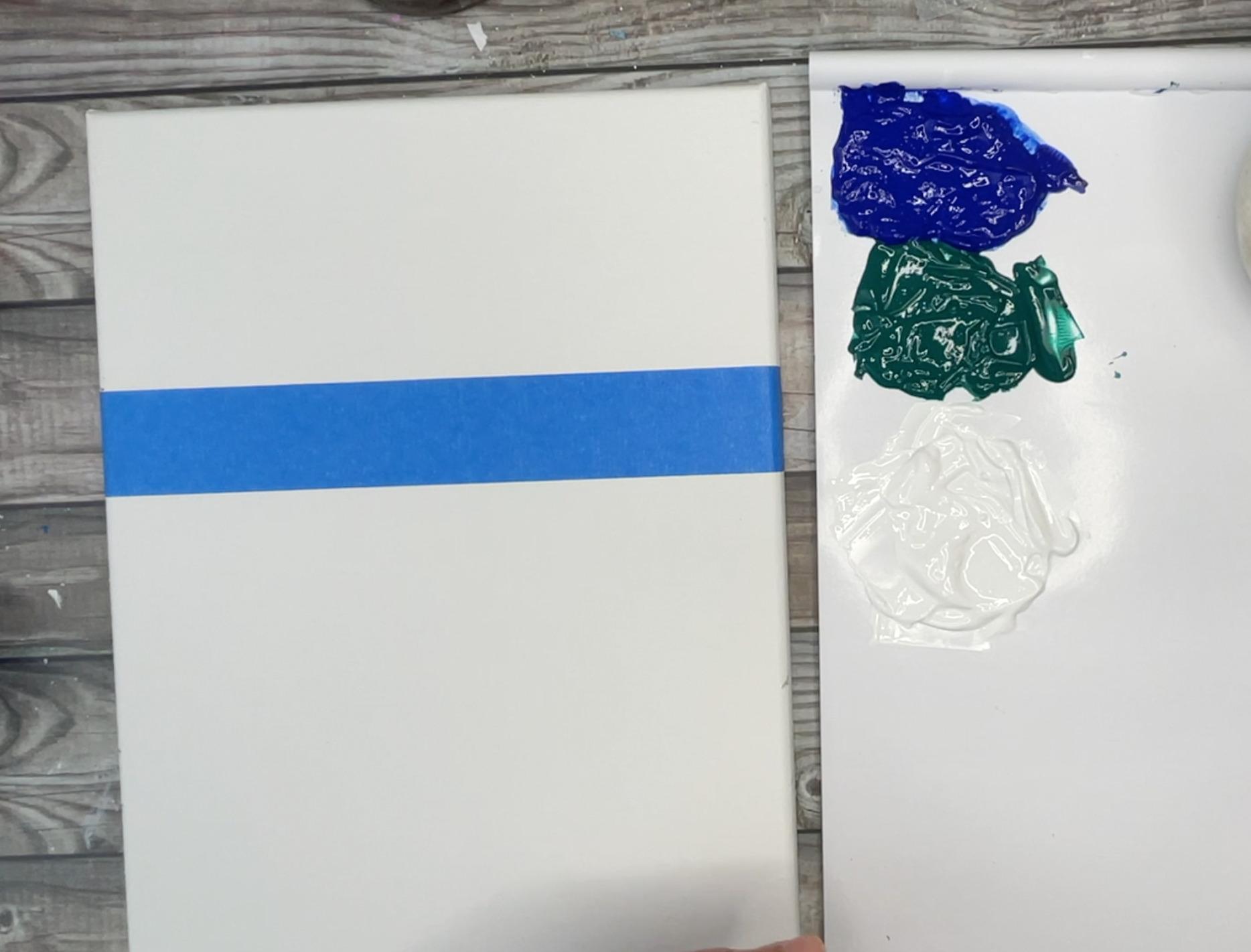 beach painting horizon line with masking tape