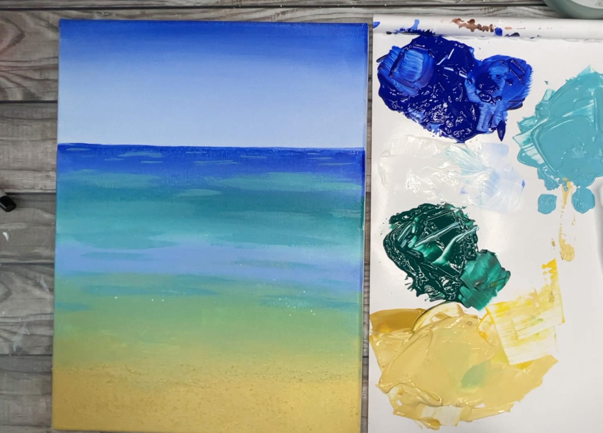 beach painting ocean details
