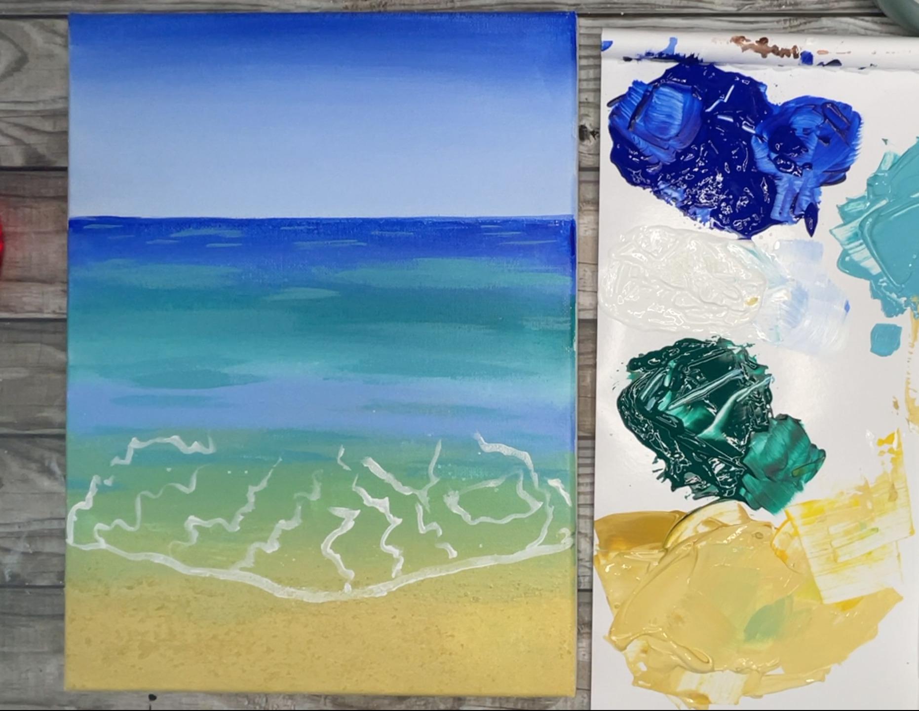 beach painting seafoam on shore