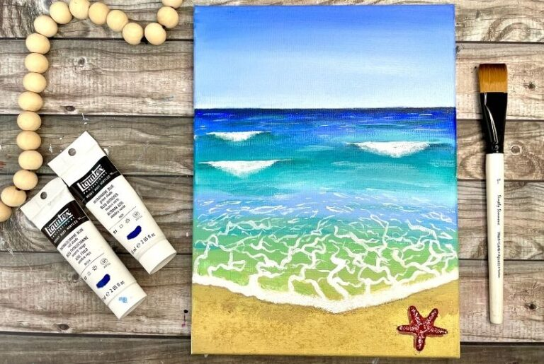 Easy Beach Painting with Acrylics for Beginners