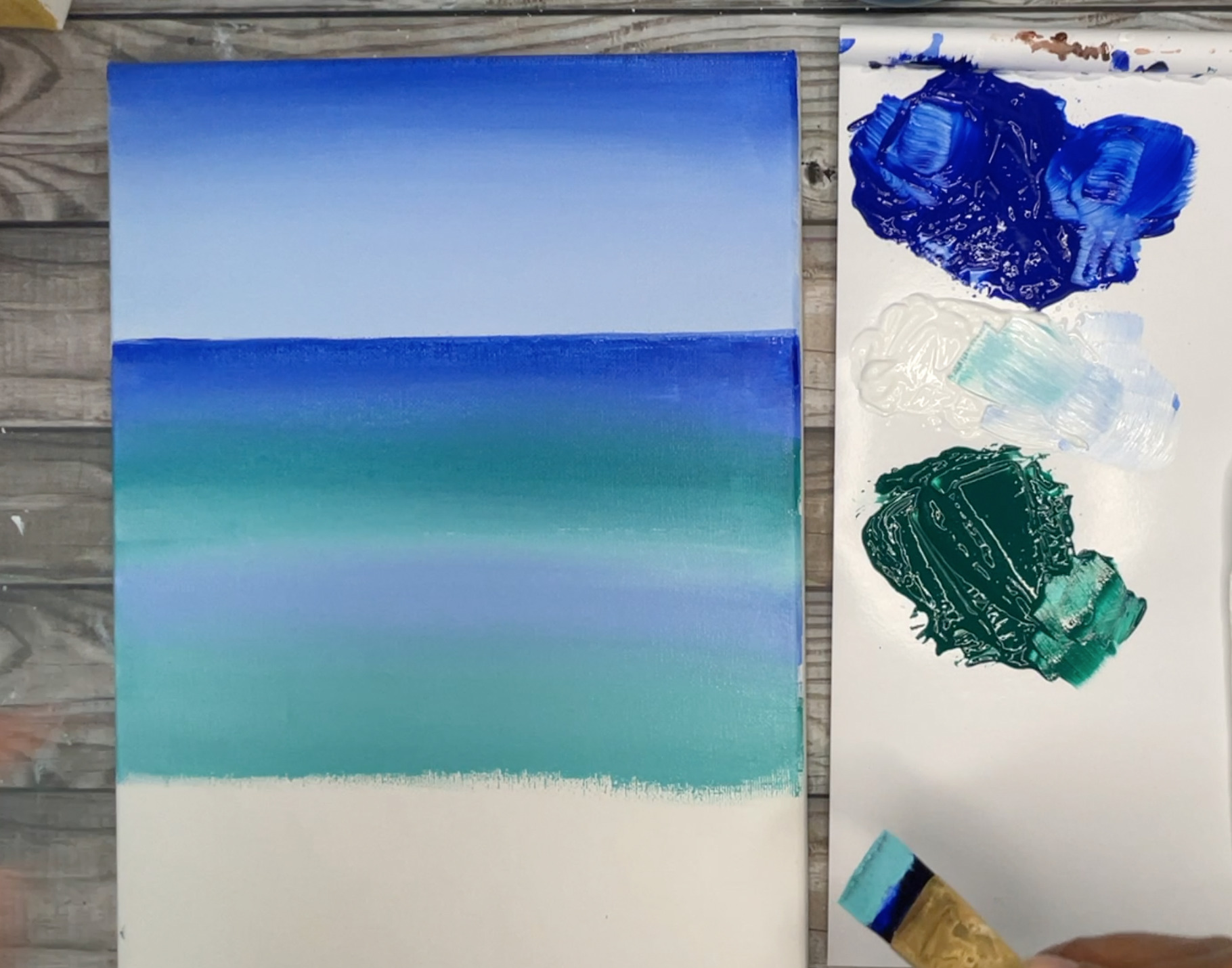 how to paint a beach easy