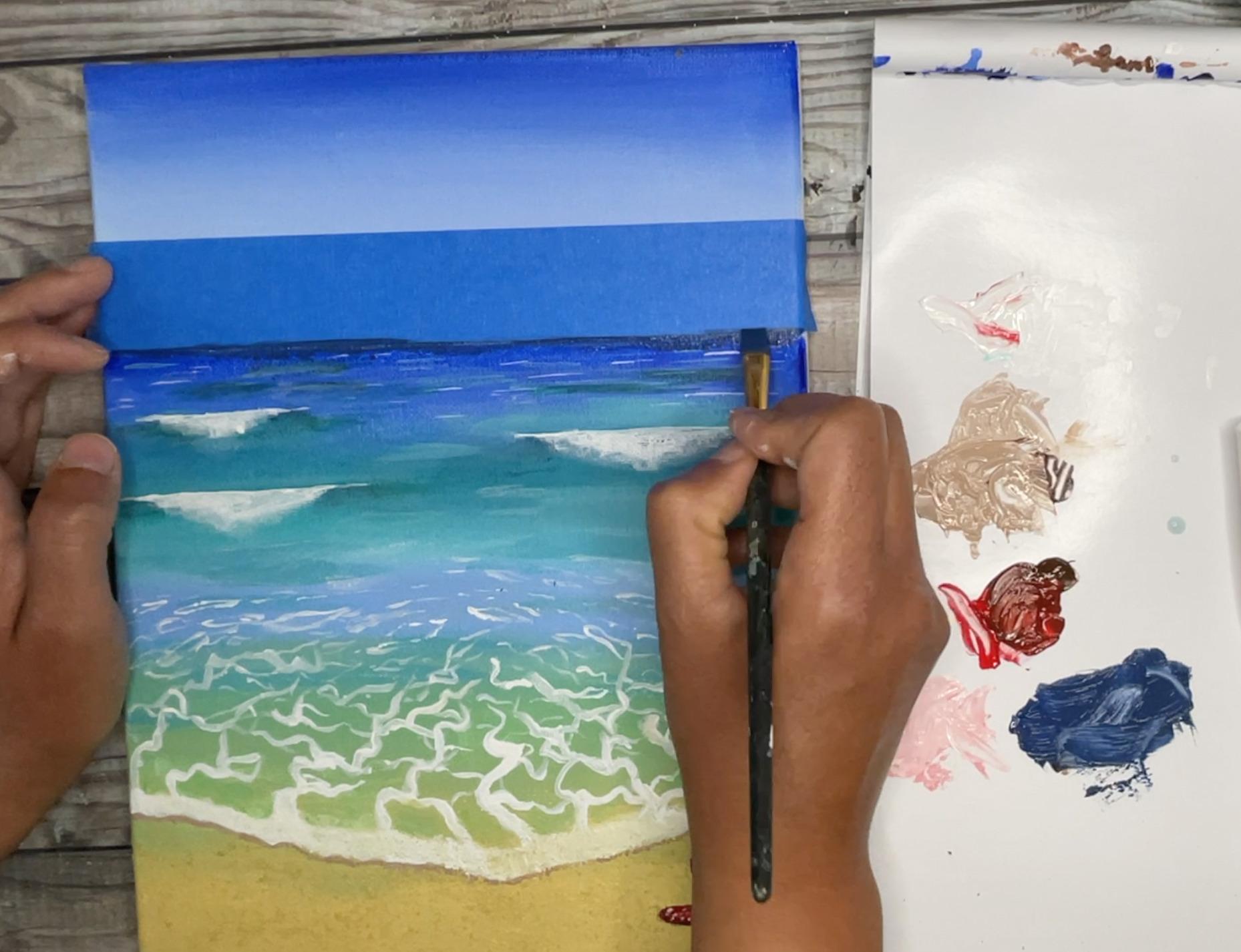 ocean painting darken ocean horizon