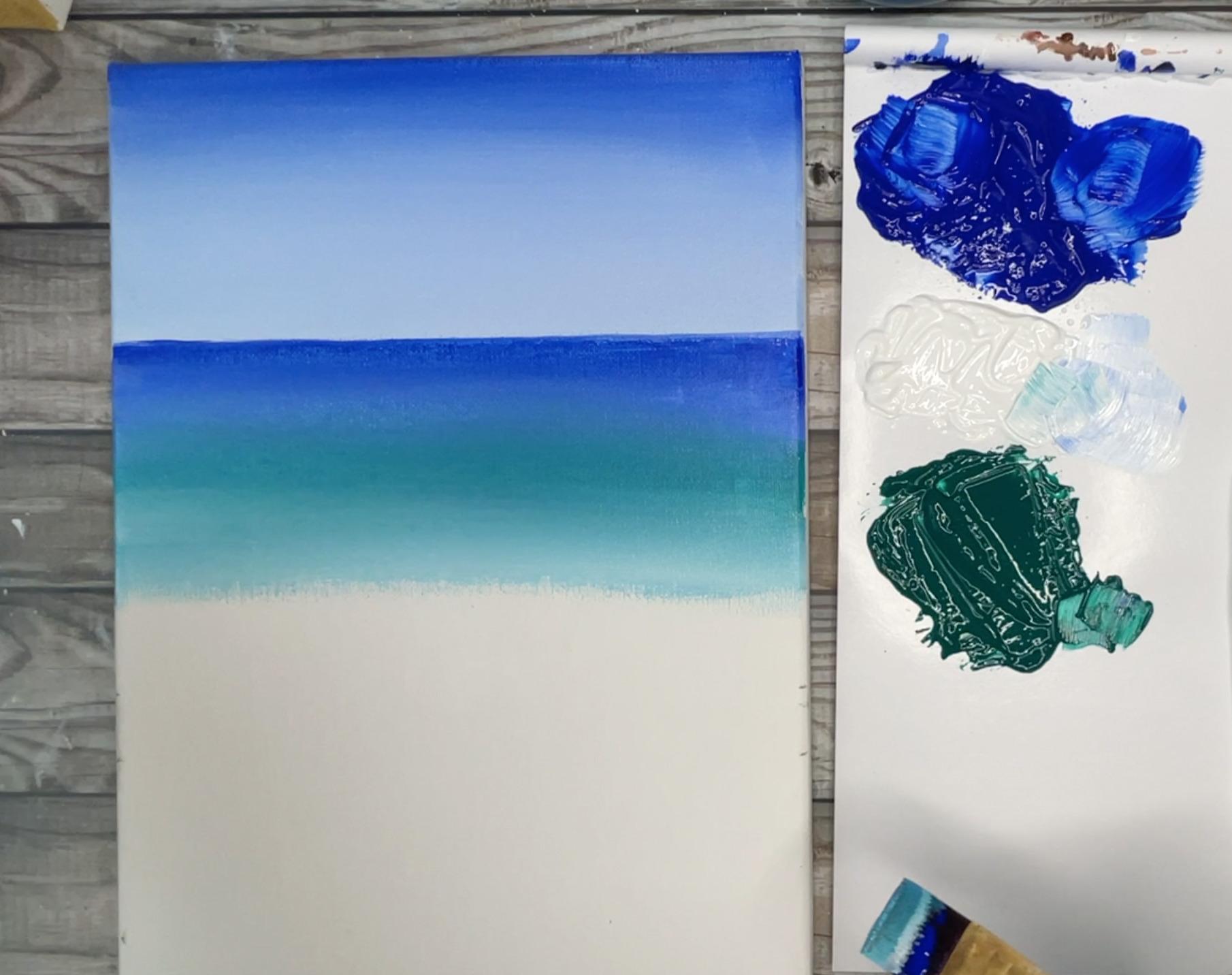 ocean painting easy blue green