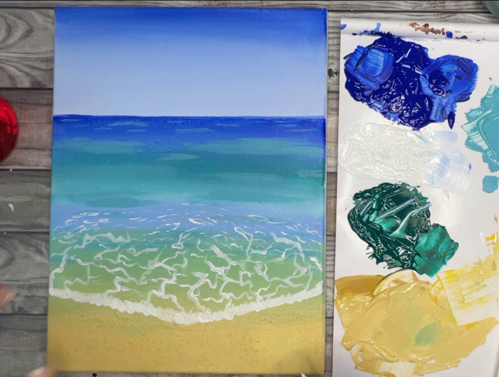 ocean painting thicken wave crest