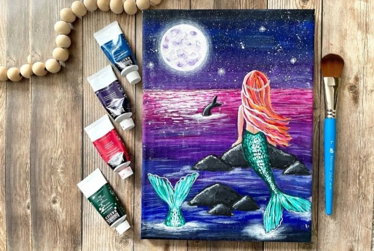 How to Paint a Mermaid and Mermaid Tail in the Night Ocean